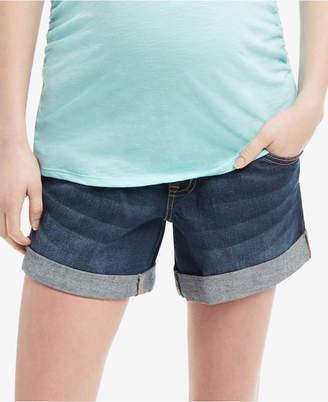 Indigo Blue Maternity Cuffed Denim Shorts