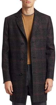 Saks Fifth Avenue Men's COLLECTION Wool Plaid Top Coat - Burgundy Grey - Size XXL