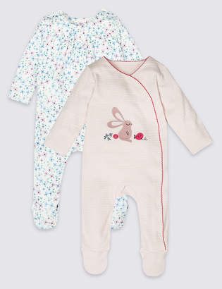 62d3af81d778 Marks and Spencer 2 Pack Pure Cotton Sleepsuits