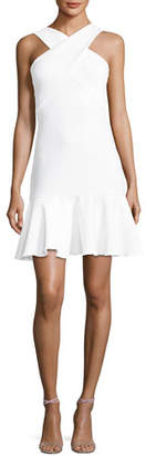 Shoshanna Monterey Halter-Neck Flounce-Hem Dress, Optic