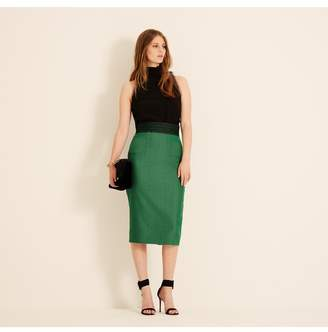 Amanda Wakeley Emerald Herringbone Pencil Skirt With Lace Detail