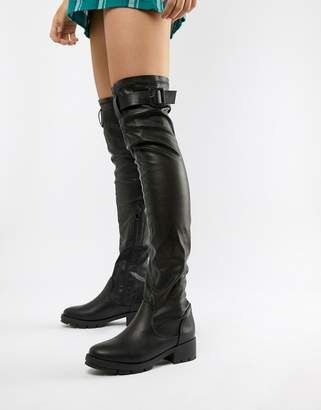 4d2f08e3555 Truffle Collection Buckle Trim Stretch Over Knee Boots