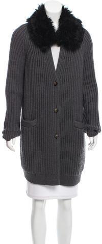 Tory BurchTory Burch Wool Shearling Cardigan