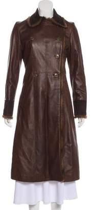 Blumarine Fur-Trimmed Long Coat
