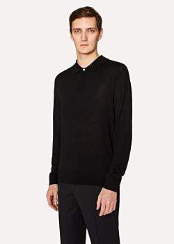 Paul Smith Men's Black Merino Wool Long-Sleeve Polo Shirt