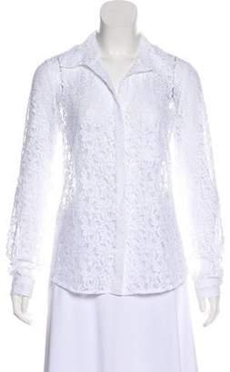 Diane von Furstenberg Lace Button-Up Long Sleeve Top