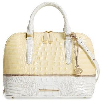 Brahmin Vivian Croc Embossed Leather Satchel - Yellow $385 thestylecure.com