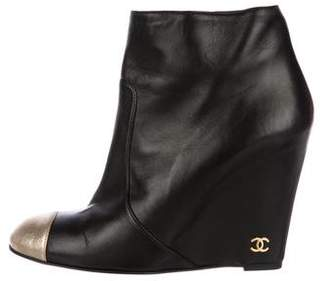 Chanel Cap-Toe CC Wedge Booties