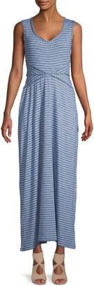 Max Studio Striped V-Neck Maxi Dress