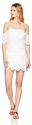 Pilyq Women's White Off The Shoulder Lace Dress Cover up Swimsuit