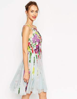 Asos DESIGN Floral Mesh Insert Fit And Flare Pinny Mini Dress