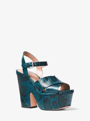MICHAEL Michael Kors Divia Snake-Embossed Leather Platform Sandal
