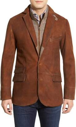 FLYNT Classic Fit Distressed Leather Hybrid Sport Coat
