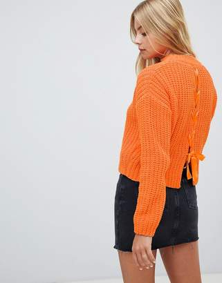 Miss Selfridge chenille sweater with lattice back detail in orange
