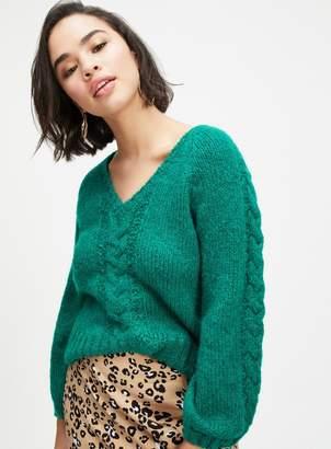 0d9c6b23e944 Miss Selfridge PETITE Green Cable Knitted Jumper