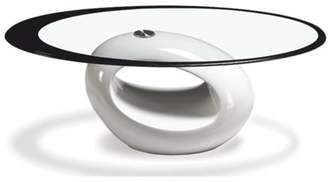 Fab Glass and Mirror Stylish Red Oval Shape Coffee Table