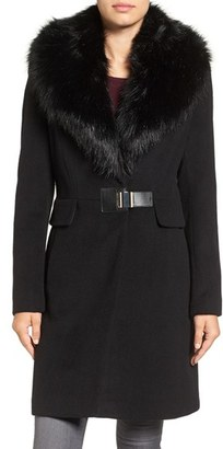 Ivanka Trump Clip Closure Faux Fur Collar Wool Blend Coat $298 thestylecure.com
