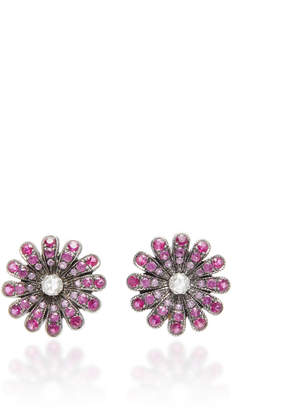 Nam Cho Rhodium-Plated 18K White Gold Ruby and Diamond Earrings