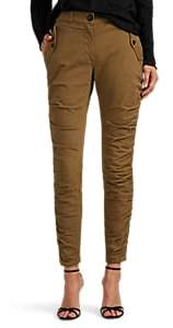 Robert Rodriguez Women's Ruched Stretch-Cotton Slim Cargo Pants - Olive