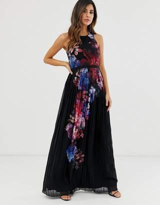 Little Mistress floral placement print maxi dress