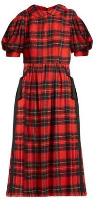 Simone Rocha Tartan Georgette Midi Dress - Womens - Red