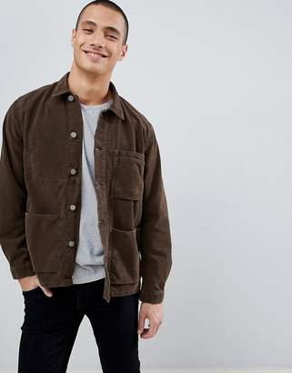 Nudie Jeans Paul organic cotton worker jacket in brown