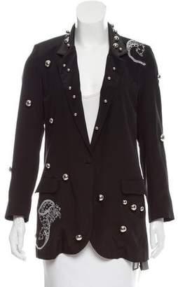 Dodo Bar Or Leather-Trimmed Silk Blazer w/ Tags