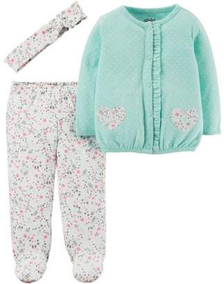Carter's Child of Mine by Newborn Baby Girl Headband, Cardigan and Foot Pant Set-3 Pieces