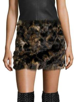 Helmut Lang Tortoise Faux Fur Skirt