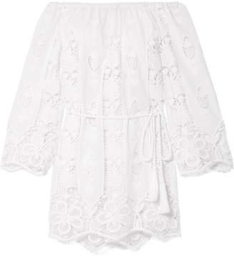 Miguelina Brigitte Off-the-shoulder Crocheted Cotton-voile Mini Dress