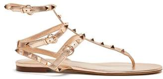 Valentino - Rockstud Flat Leather Sandals - Womens - Rose Gold