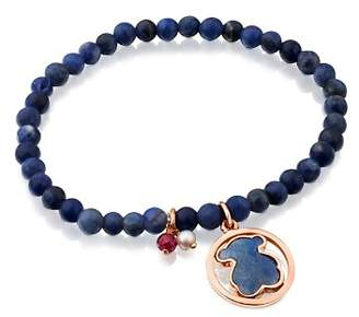 Tous Camille Sodalite Beaded Stretch Bracelet with Dumortierite Bear Doublet, Ruby & Cultured Freshwater Pearl Charms