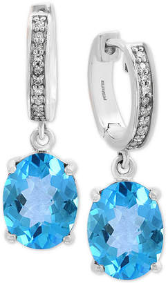 Effy Blue Topaz (4-1/10 ct. t.w.) & Diamond Accent Drop Earrings in 14k White Gold