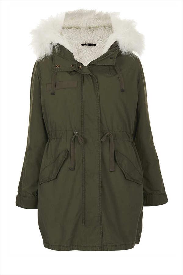 Topshop Petite Khaki Parka Coat