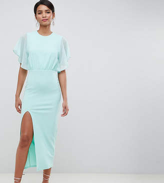 Silver Bloom chiffon top midaxi dress with flutter sleeve in mint
