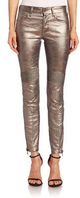 Polo Ralph Lauren Metallic Moto Jeans $298 thestylecure.com
