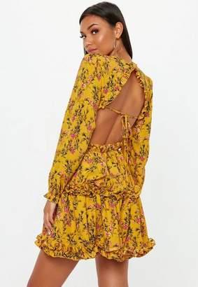 Missguided Mustard Floral Open Back Skater Dress