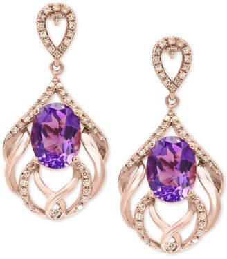 Effy Amethyst (4-1/5 ct. t.w.) & Diamond (1/3 ct. t.w.) Drop Earrings in 14k Rose Gold