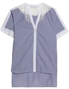 Sandro Lace-Paneled Pinstriped Cotton-Poplin Top