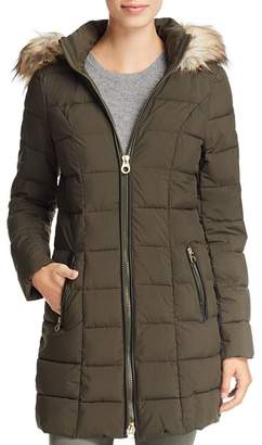 Laundry by Shelli Segal Faux Fur Trim Hooded Puffer Coat