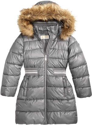 Michael Kors Big Girls Hooded Metallic-Waist Jacket with Faux-Fur Trim