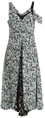Proenza Schouler Abstract Print Silk Crepe De Chine Dress - Womens - Blue Print