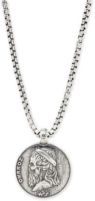 "Degs & Sal Men's Greek Skull Coin 24"" Pendant Necklace in Sterling Silver"