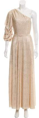 Alice + Olivia Jeanie Metallic One-Shoulder Gown