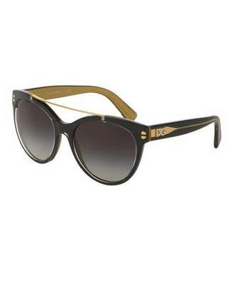 Dolce & Gabbana Universal-Fit Square Brow-Bar Sunglasses, Black $160 thestylecure.com