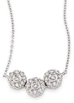 Hueb Women's Three Flower Diamond & 18K White Gold Pendant Necklace