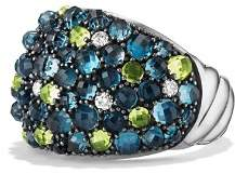 David Yurman Cable Berries Dome Ring with Hampton Blue Topaz, Peridot and Diamonds