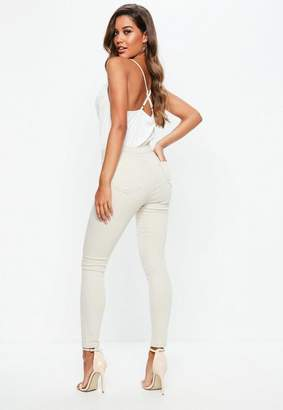 Missguided Cream High Waisted Skinny Jeans