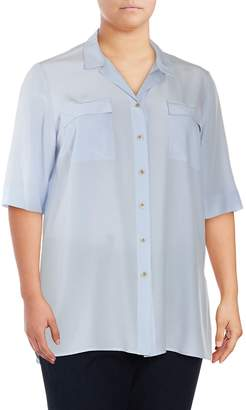 Lafayette 148 New York Women's Plus Classic Silk Blouse - Sky Blue, Size 1x (14-16)