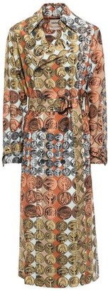 Roberto Cavalli Belted Printed Silk Trench Coat